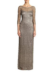 Kay Unger - Beaded Illusion Gown