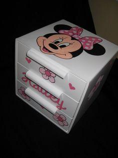 personalized bow holder jewelry box minnie by andrewandelladesigns, $20.00