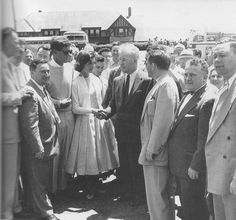 The casually dressed Mr. and Mrs. Kennedy greet supporters near Hyannis Port in 1954.  I love how she looks here - like a cute 1950s schoolgirl.