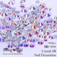 Tamaños de La Mezcla Del Brillo de Los Rhinestones Del Arte Del Clavo de cristal Y Cristal AB Rhinestones Con Redondo Flatback Para Uñas Decoraciones Bolsas