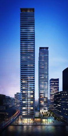 Canary Wharf Towers, Arrowhead Quay, London by Glenn Howells Architects :: 55 and 50 floors, residential