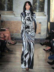 2016 Emilio Pucci Sagittarius-print High-neck Silk Gown