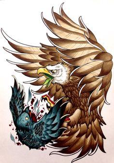 Eagle Tattoo Designs and Ideas Life Tattoos, Body Art Tattoos, Tatoos, Tattoos Costas, Neo Tattoo, Tattoo Flash, Tattoo No Peito, Denim Art, Eagle Tattoos