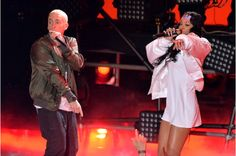 """At the 2014 MTV Movie Awards the biggest performance, Eminem and Rihanna teamed up for their mega-hit """"The Monster"""" at Los Angeles' Nokia Theatre on Sunday night. The two sang among an epic light show and backdrop of flames before an enthusiastic audience. With plans to tour together in August, consider this a taste of what's coming this summer."""