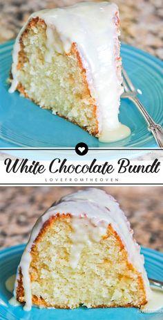 Cake Mix Recipes, Pound Cake Recipes, Cupcake Recipes, Baking Recipes, Dessert Recipes, Frosting Recipes, White Cake Recipes, Oven Recipes, White Chocolate Bundt Cake Recipe