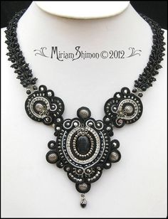 Black silver and gray beaded Soutache necklace by MiriamShimon - 225.00