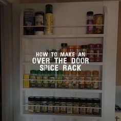 How to make an over the door spice rack for your pantry / kitchen / utility room. Easy build wooden design; simple, elegant, function. #spicerack #houseprojects #homeimprovements #kitchen #pantry