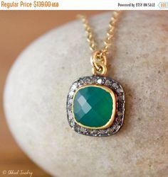 40 OFF SALE Green Onyx Pave Diamond Necklace - Emerald Necklace - 14K Gf, St Patricks Day