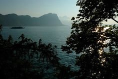 Lake Lucerne ferry at sunset. Switzerland