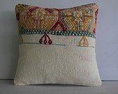 "16""designer cushion cover kilim embroidered pillowcase decorative throw kilim pillow turkish folk art pillow cover wool pillow cream white"