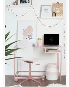 Ikea hack- VITTSJÖ laptop table/ desk sprayed with Rose Gold spray paint from Rust-Oleum Teenage Girl Bedroom Designs, Teenage Girl Bedrooms, Girl Rooms, Bedroom Desk, Gold Bedroom, Teen Bedroom, Ikea Hacks, Vittsjo Hack, Do It Yourself Ikea
