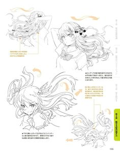 Anime hairstyles - flowing hair shape 2 how to draw anime hair, anime hair drawing Drawing Hair Tutorial, Manga Drawing Tutorials, Manga Tutorial, Drawing Techniques, Art Tutorials, Drawing Skills, Drawing Poses, Drawing Tips, Male Drawing