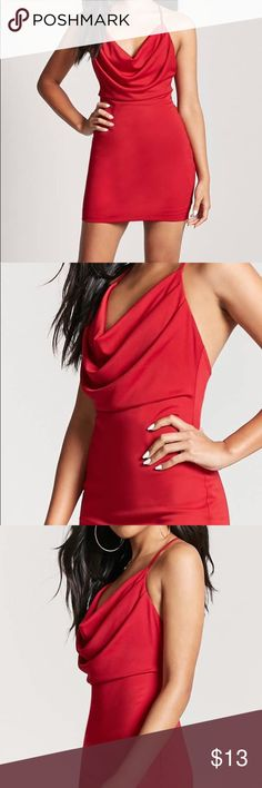 """Draped Mini Dress Details  A stretchy knit mini dress featuring a draped front design, a scoop neck, cami straps, and a T-back. Content + Care  - 100% polyester  - Hand wash cold  - Made in China  Size + Fit  - Model is 5'9"""" and wearing a Small  - Full length: 32""""  - Chest: 30""""  - Waist: 28""""  Product Code : 2000092662 Forever 21 Dresses Mini"""