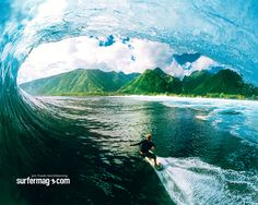 Nice scenery from inside the barrel at Teahupoo in Tahiti.