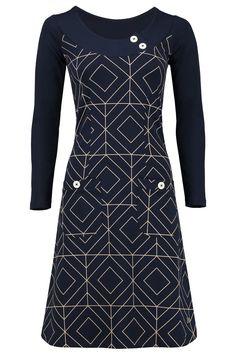 Tante Betsy Dress Twiggy Grafisch graphic dark blue navy jurk donkerblauw