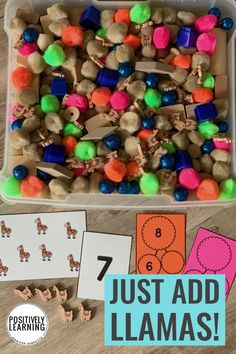 Add Llama Mini Erasers to your math centers! Use these number sense task cards with small groups and centers. Subitizing, one-to-one correspondence, and counting. From Positively Learning Math Rotations, Math Manipulatives, Subitizing, Math Centers, Kindergarten Crafts, Classroom Crafts, Classroom Ideas, Co Teaching, Teaching Ideas