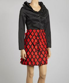 Take a look at this Black & Red Ruffle Diamond Dress - Women by Samuel Dong on #zulily today! $50 !!