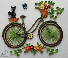 How to make quilling bicycle with flowers