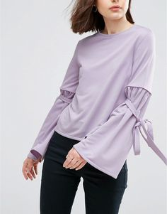 ASOS Top With Tie Sleeve Detail
