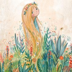 "Lucy Fleming on Instagram: ""earth #illustration #art #colourful #kidlitart #painting #nature #girl #cute #sweet #whimsical #plants"""