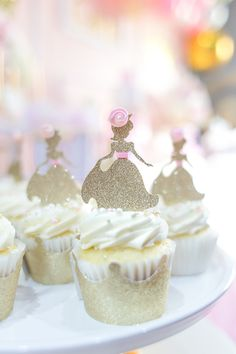 Pretty pinks and touches of gold find your in this Magical Princess Birthday Party featured here at Kara's Party Ideas. Pink Princess Party, Princess First Birthday, Princess Cupcakes, Princess Theme, Cute Birthday Ideas, Fairy Birthday Party, Birthday Parties, 30th Birthday, Cupcake In A Cup