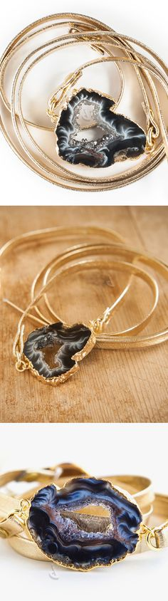Agate + gold leather wrap bracelet #jewelry_design
