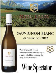 #NeilEllis Sauvignon Blanc 2012 - 88 points #Wine Spectator Sauvignon Blanc, Wines, Vineyard, Bottle, Flask, Jars