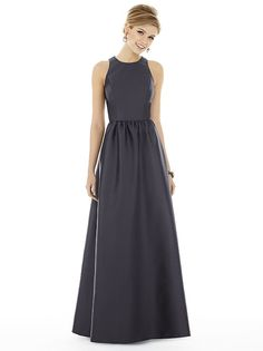 Alfred Sung Style D707  Store Sample in Onyx, Size 8. Full length sleeveless sateen twill dress with jewel neck and keyhole back. Pockets at side seams of shirred skirt. Sizes available: 00-30W, and 00-30W Extra Length. #inwhitespringfield