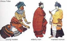 Illustrations of traditional African garments. Xhosa, South and Western Cape