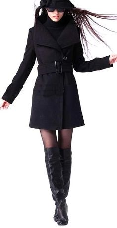 LANHUACAO Wool Blends Winter Coat Outwear Womens $64.99