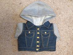 Customizable 18 Inch Doll Hoodie Vest Denim by RainbowLilyDesigns