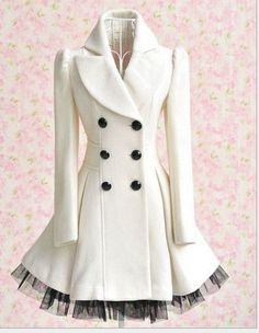 Elegant Gothic Double Breasted Gauze Trimming Coat not this color but It is so cute and I am a sucker for a pea coat. This is like a pea coat with personality Looks Style, Style Me, Sweet Style, Girl Style, Retro Style, Vintage Style, Retro Vintage, Look Fashion, Womens Fashion