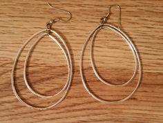 Earrings Vintage French Wire Drop Loop Silver by AuntyMyrnesAttic on Etsy