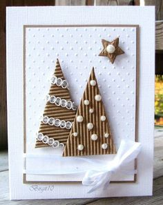 Homemade Christmas cards are the perfect gift for loved ones and of-course, you … Selbstgemachte Weihnachtskarten sind das perfekte Geschenk Homemade Christmas Cards, Funny Christmas Cards, Christmas Cards To Make, Homemade Cards, Christmas Diy, Christmas Trees, Simple Christmas, Christmas Design, Xmas Tree