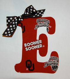 OU Oklahoma Sooners Initial Monogram College Football DIY Iron On Fabric Applique DIY No Sew by KatyBandz on Etsy https://www.etsy.com/listing/201571370/ou-oklahoma-sooners-initial-monogram