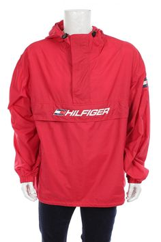 a4a78037 Tommy Hilfiger Windbreaker jacket 1/4 zip Pullover Flag Logo Spell Out Red  Size XXL