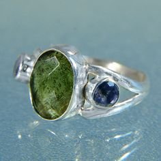 Handmade Faceted Moldavite & Iolite Silver by ArkadiaCollection