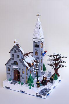 mod 1 - church | by sdrnet Lego Christmas Village, Lego Winter Village, Lego Gingerbread House, Casa Lego, Lego Bedroom, Bedroom Kids, Bedroom Furniture, Construction Lego, Amazing Lego Creations
