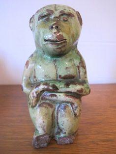 Donyatt, North Devon green slipware monkey