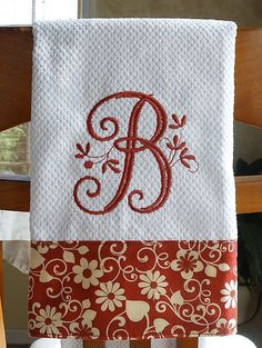 Monogrammed Kitchen Towel, Brick Red Floral Monogrammed Towel. $10.00, via Etsy.