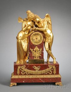 Louis XVI Style Gilt-bronze and Rouge Marble Mantel Clock, c. 1880
