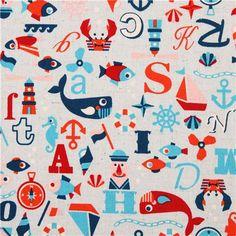 light blue sailor ABC Canvas fabric Kokka Japan 7,45