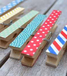 A billion (give or take) washi tape craft ideas. School clothespins - Kaylen will go crazy for this!