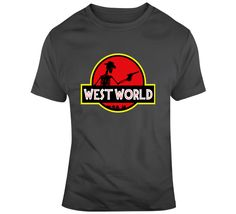 West World Logo T Shirt Jurassic Park, Tv Series, Wagon Wheel, Logos, World, Mens Tops, Cotton, T Shirt, Stuff To Buy