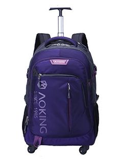f1b7d7597884 AOKING 20 22 Inch Water Resistant Travel School Business Rolling Wheeled  Backpack with Laptop Compartment