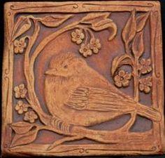 artisan tile, bird motif 回 Tile o Phile 回 barbara clark Azulejos Art Nouveau, Art Nouveau Tiles, Art Deco, Craftsman Tile, Art And Craft Design, Clay Tiles, Paperclay, Handmade Tiles, Arts And Crafts Movement