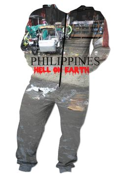 """Custom Onesie. Your statement """"Philippines – Hell on Earth"""" comes also in German, Spanish and French language! So the World may know! Also, available as Sweatshirt, Hoodie, Yoga Pants, Handy cover, Joggers, Leggings, Tee, blouse, skirt, shirt, sweater, Beach Towel, Tank Top, Crop Top, pillowcase, Onesie, fleece blanket, dress, Bandana, mug, glass, laptop, shower curtain. Philippines, Manila, Bohol, Makati, travel,  novelty, World, apparel, Pinterest, pin, bestseller."""