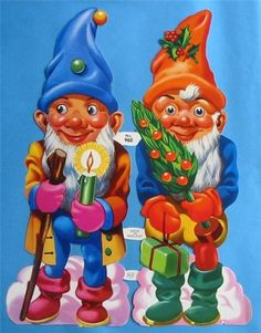 Vintage Victorian Scrap Large Christmas Gnomes by SugarCampCottage, $5.99