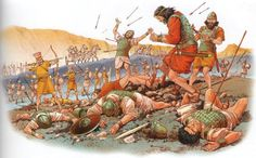 Sea People in battle. Death of Saul on Mt. Gilboa