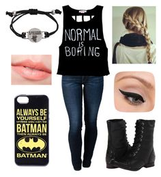 """""""Normal is boring and it scares me :("""" by melanietorresco ❤ liked on Polyvore featuring THVM, Naughty Monkey and LORAC"""